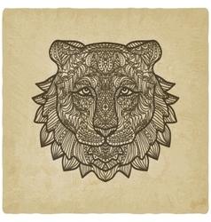 tiger head on grunge background vector image