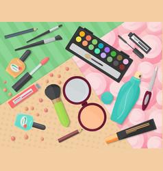 Top view of various makeup decorative cosmetics vector image vector image