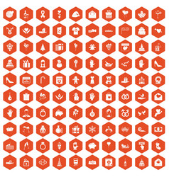 100 gift icons hexagon orange vector