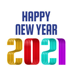 2021 happy new year colorful ribbon font on white vector image