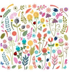 48 brushes plants flowers berries vector