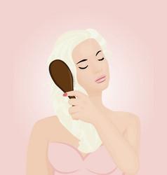 a girl brushing her hair vector image