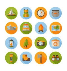 A set of hiking flat icons in modern style vector image