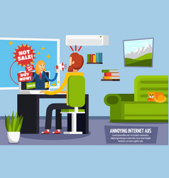 annoying intrusive ads orthogonal composition vector image