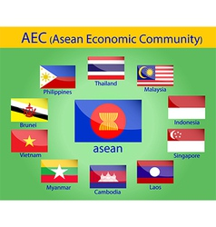 Asean flags vector