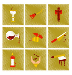 Assembly flat shading style icon knife blood wax vector