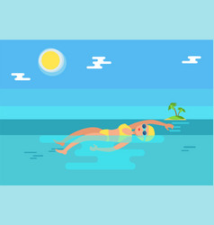 Backstroke swimmer in water vector