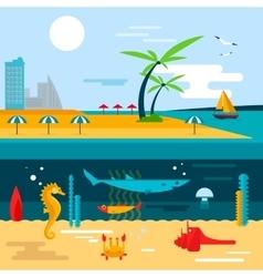 Beach and ocean underwater life vector