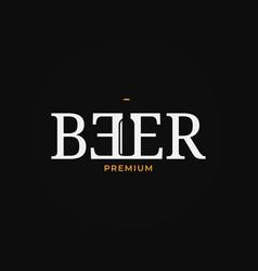 beer logo with beer bottle on black background vector image