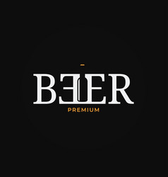 beer logo with bottle on black background vector image