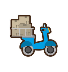 Blue delivery scooter service fast vector