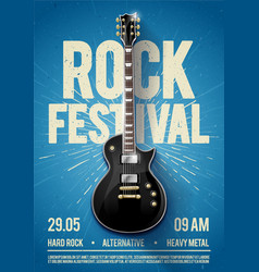 blue rock festival concert party flyer poster vector image