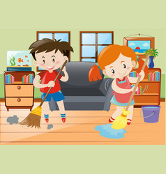 Boy and girl doing chores in the house vector