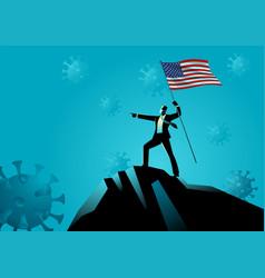 businessman holding flag usa on top vector image