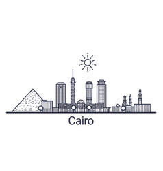 cairo skyline banner linear style line art vector image