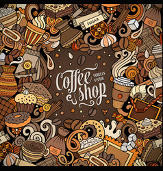 cartoon doodles coffee frame bright colors vector image