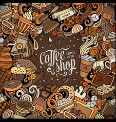Cartoon doodles coffee frame bright colors vector