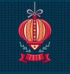Chinese flashlight greeting card winter holidays vector