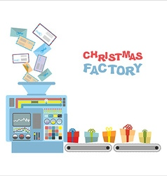 Christmas machine Processing letters from children vector