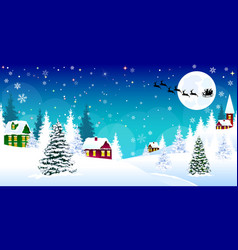 Christmas winter village night snow santa vector