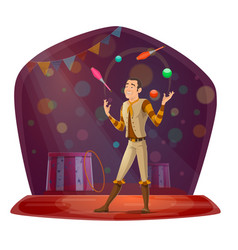 Circus with juggler throwing balls and skittles vector