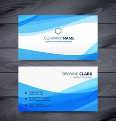 clean blue modern business card template design vector image
