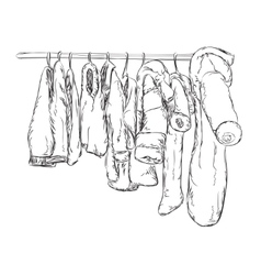 Clothes for little boys and girls Wardrobe sketch vector image