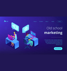 Cold calling isometric 3d landing page vector