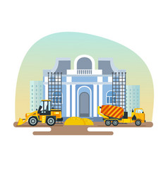 construction of museum with help equipment vector image