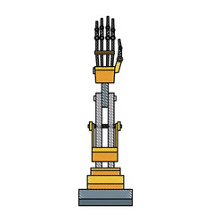 cyber arm hand mechanical industry equipment vector image
