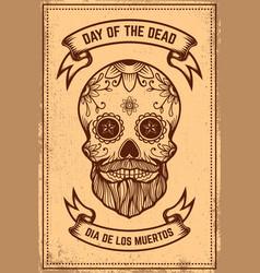 Day dead mexican sugar skull on grunge vector