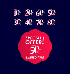 Discount special offer up to 50 off limited time vector