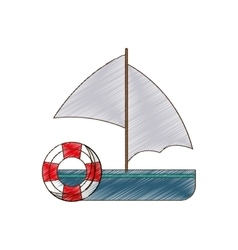 Drawing sailing boat buoy life travel vector