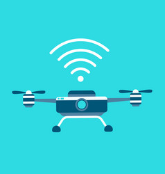 Drone icon style is flat bicolor blue vector