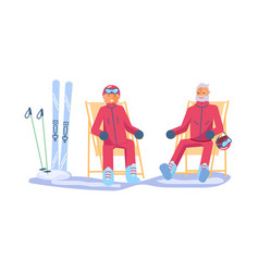 elderly people characters relaxes on a ski resort vector image