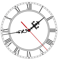 elegant clock face with roman numerals vector image