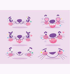 Emojis kawaii cartoon animal expression faces set vector