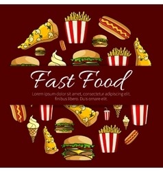Fast food menu card circle design vector