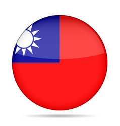 Flag of taiwan shiny round button vector