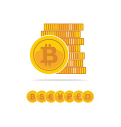 flat golden bitcoins stack of golden coin vector image