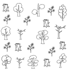 Flat hand draw tree set doodles vector