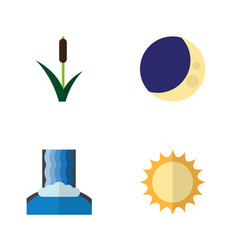 Flat icon ecology set of cattail cascade half vector