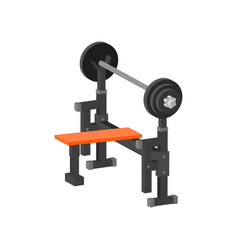 Flat icon of bench press machine gym vector