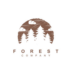 forest tree logo design template vector image