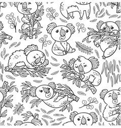 fun koalas in the eucalyptus seamless pattern ink vector image