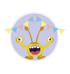 Funny monster with bulging eyes and garlands party vector