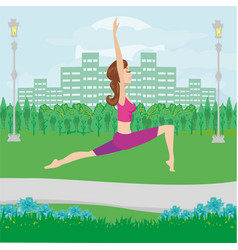 Girl meditates in nature vector