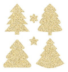 Gold glitter icon of christmas tree isolated on vector