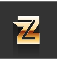 Gold Letter Z Shape Logo Element vector image