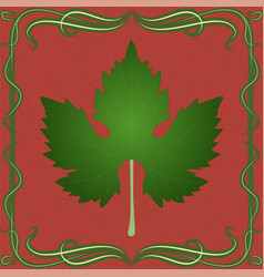 grape leaf on vintage background vector image